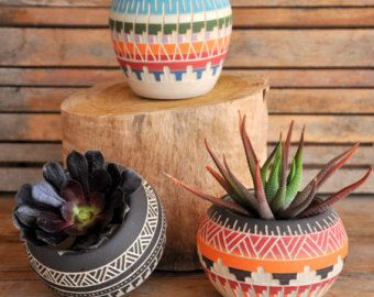 Ceramic planter pottery Navajo inspiration Carved sgraffito Vase home deco GEO Aztec Geometric Wheel thrown vase - Edit Listing - Etsy