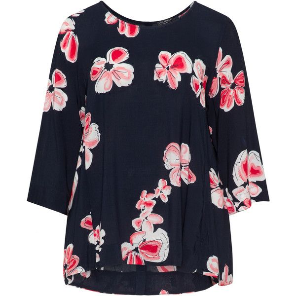 Via Appia Due Dark-Blue / Red Plus Size All over print top ($76) ❤ liked on Polyvore featuring tops, blouses, plus size, dark blue blouse, pattern blouse, women's plus size blouses, high-low blouses and red plus size tops