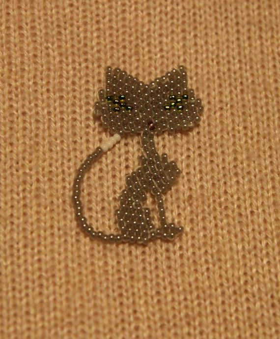 Handmade Beaded Cat  Kitty  Pendant or Brooch by LittleHeaven4You
