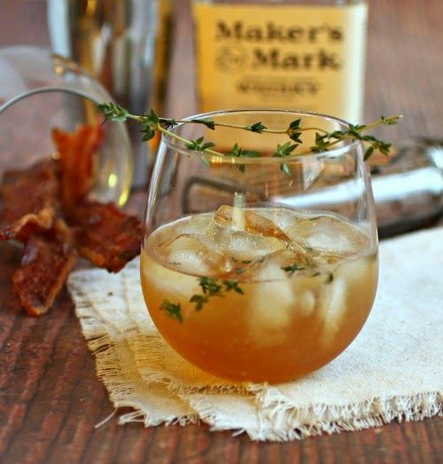 The Maple Leaf: 2 1/2 oz.Bourbon, 1 oz. lemon juice, 1 dash bitters, 2 sprigs thyme. Muddle thyme, shake all and serve!