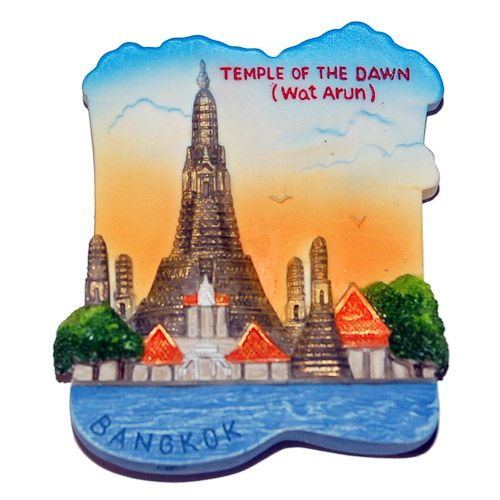 Resin Fridge Magnet: Thailand. Bangkok. Wat Arun Rajwararam (Temple of the Dawn)
