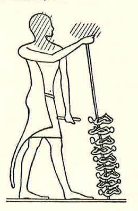 Fig. 1 : Bas relief dans la bibliothèque du temple d'Edfou (G. Posener, Princes et pays d'Asie et de Nubie, fig. I, p. 7). Onomastique et statut des immigrés syro-palestiniens dans l'Égypte du Moyen Empire