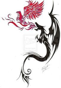 Comission - Dragon and Phoenix by GisaPizzatto.deviantart.com on @deviantART