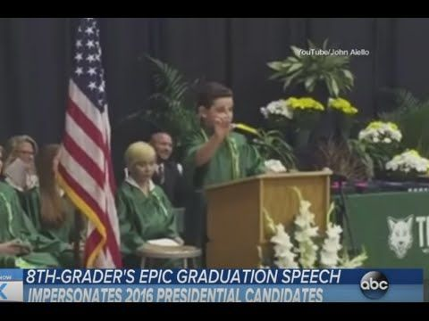 Suburban 8th-Grader Impersonates Presidential Candidates in Entertaining Graduation Speech - YouTube