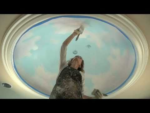 Mural tutorial: How to paint realistic (not cartoon) clouds on the ceiling. Demo includes paint colors and technique. This would be great not only for kid's rooms but also for formal spaces.