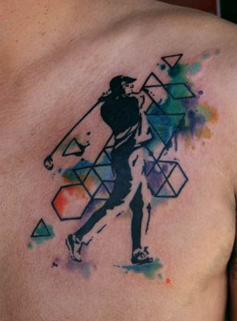 Watercolor Geometric Golf Tattoo