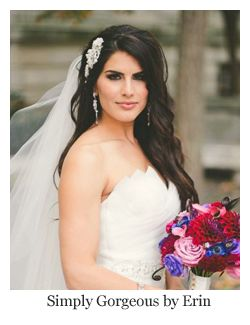 Romantic bridal hair, loose curls with hair comb and veil, hairstyle by Simply Gorgeous by Erin.