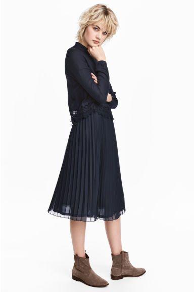 Jupe plissée - Bleu foncé - FEMME | H&M FR 1
