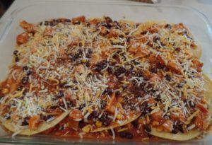 Layered Chicken Enchilada Casserole Recipe - 2 Crafty Little Sisters