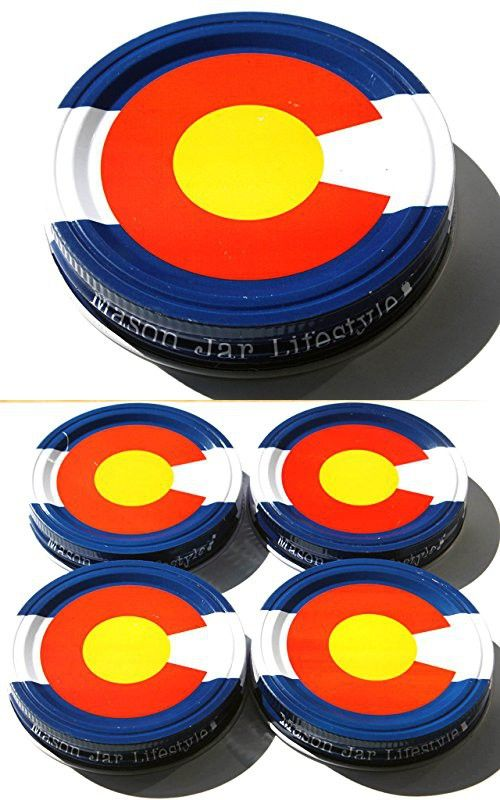 Colorado State Flag Storage Lids Caps for Mason, Ball, Canning Jars (4 Pack, Wide Mouth)