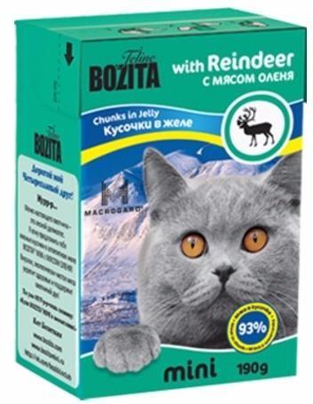 Корм для кошек Бозита мясные кусочки в желе/оленина, уп. 190г