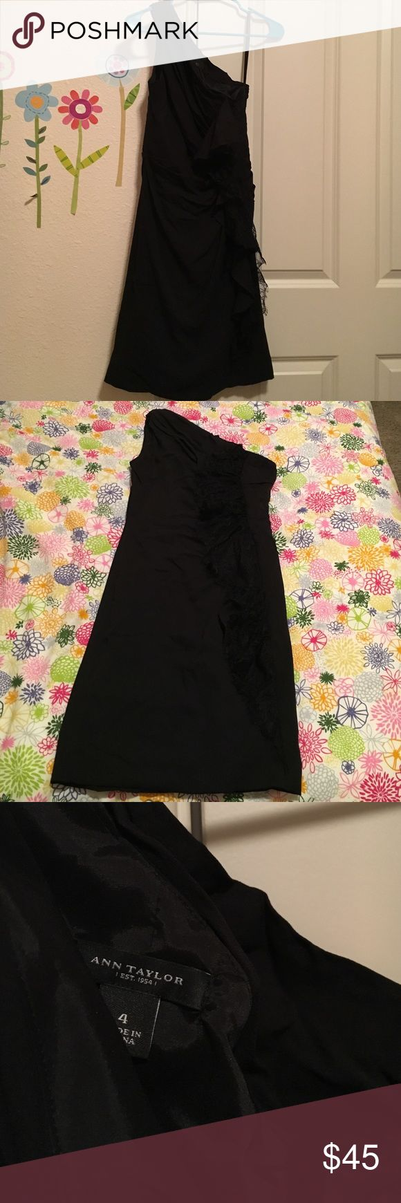 Beautiful black one strap dress Above the knee length black dress. One strap with ruffling down one side and a zip on the side. Perfect for date night! Barley warn and in great condition! Ann Taylor Dresses One Shoulder