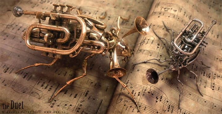 little bugzFrench Horns, Music Instruments, Abstract Art, Songs Hye-Kyo, Steam Punk, Stars Wars Art, Music Sheet, Bugs Art, Steampunk