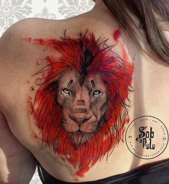 Lion tattoo by Sob a Pele