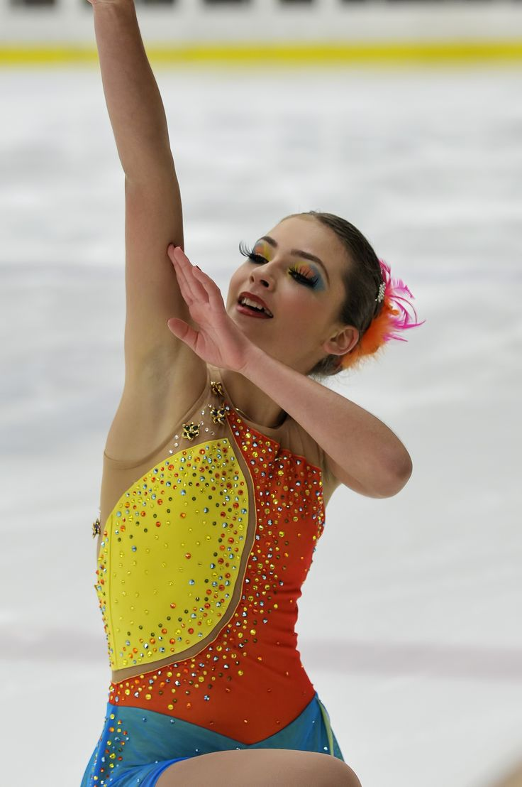 best images about beautiful figure skating costume yellow blue and orange skating dress by brad griffies for real in
