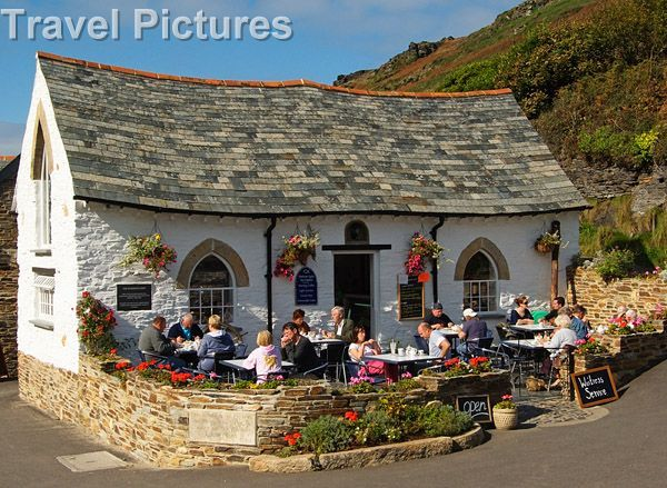 Traditional Cream Teas Cafe And Stone Architecture, Boscastle, Cornwall, England