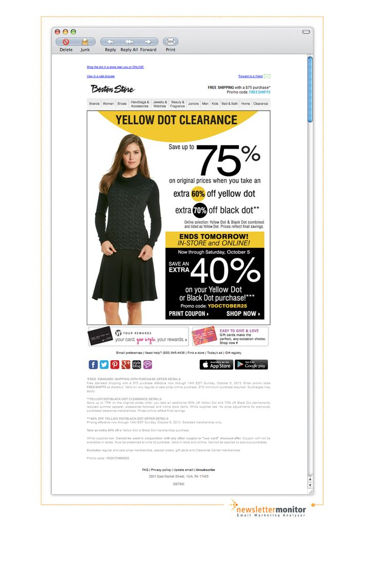 Brand: Boston Store | Subject: Ends Tomorrow! Extra 40% off Yellow D•t Clearance! (already up to 75% off!)