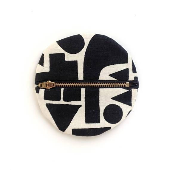 Black Shapes Small Circle Pouch- Geometric Modern Wallet