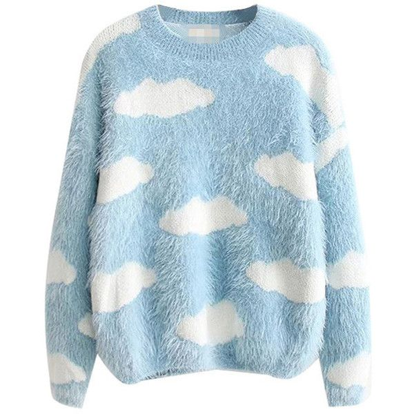 Fluffy Cloud Jumper (700 MXN) ❤ liked on Polyvore featuring tops, sweaters, blue jumper, blue top, blue sweater, jumpers sweaters and jumper top