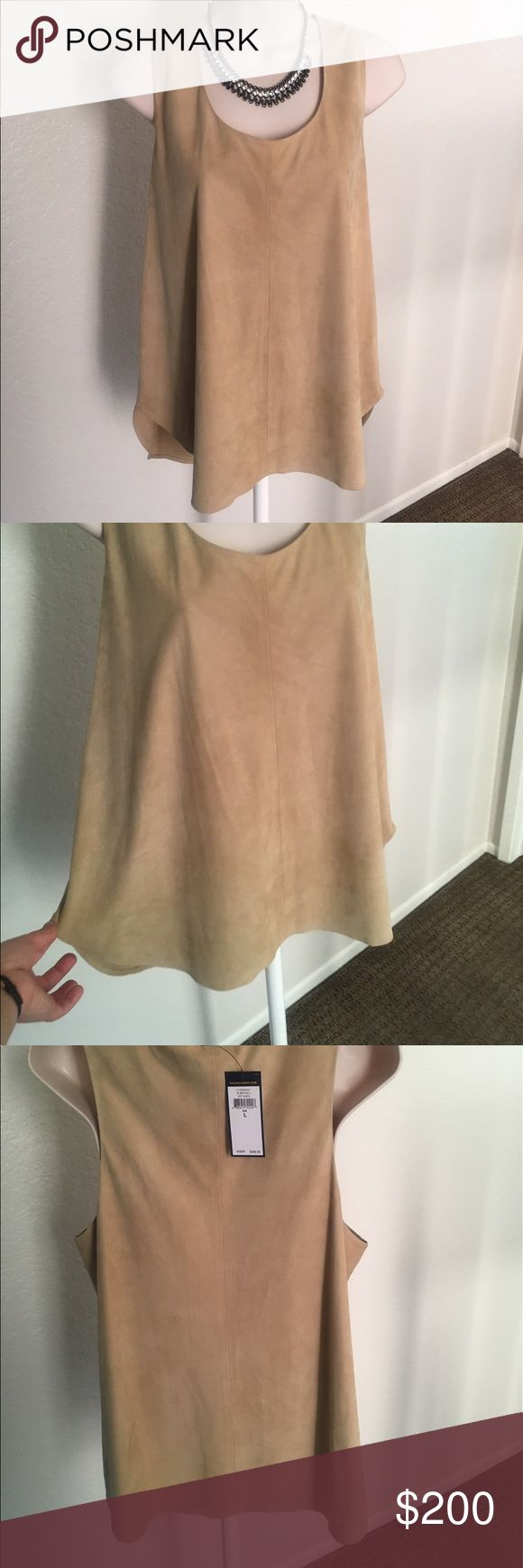 """🎉ON SALE! 🎉 100% goat suede tank by Ralph Lauren NWT. This shirt is perfect for the Kentucky Derby, a gala, or a fancy date night. Would look great with a skirt or with slacks. Flowy enough to not be skin tight and easily hides those """"imperfections."""" that we all hate 😉 Was asking $200, now asking $145! Don't like the price? Make me an offer! 🙃 Polo by Ralph Lauren Tops Tank Tops"""