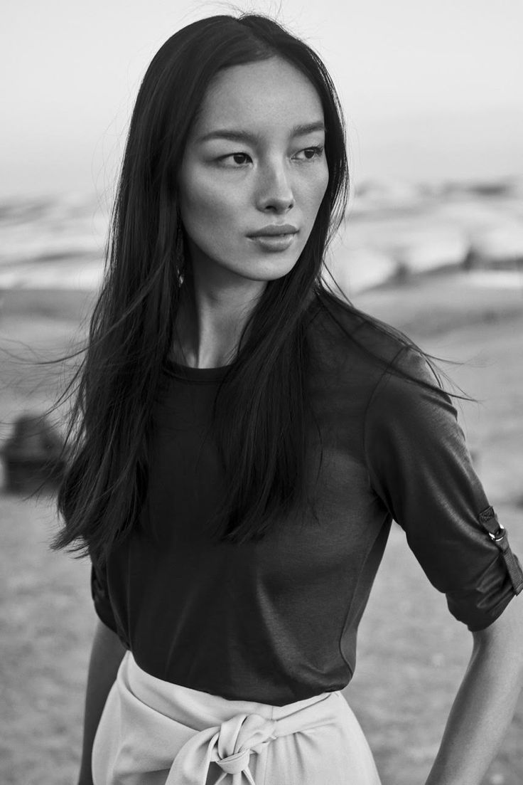 Photographed in black and white, Fei Fei Sun stars in Massimo Dutti spring 2017 campaign