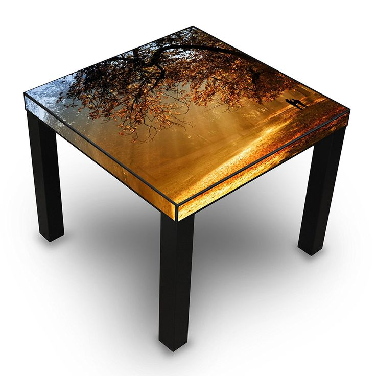 table d 39 appoint noir avec motif dor l 39 automne amazon. Black Bedroom Furniture Sets. Home Design Ideas