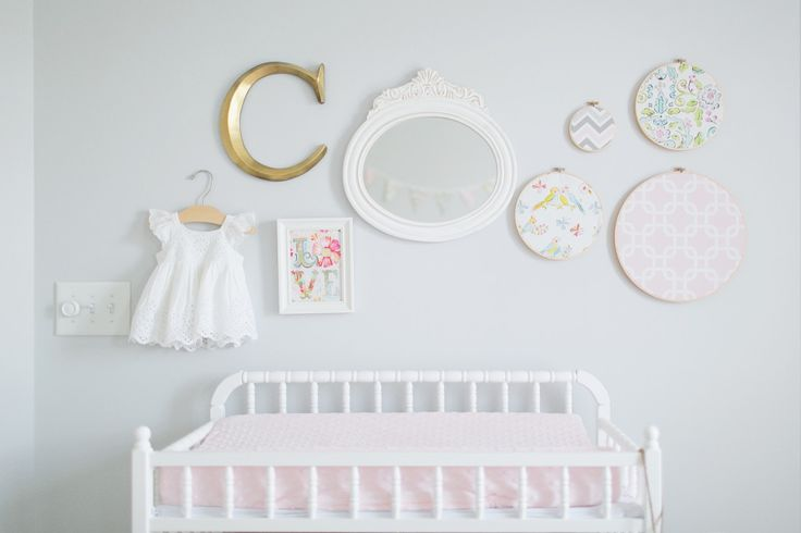 Simple, eclectic #gallerywall in #nursery. (You have to see the rest of this shabby chic nursery!)Babycaroline 10, Caroline'S Nurseries, Shabby Chic Nurseries, Sweets Girls, Projects Nurseries, Baby Girls, Girls Nurseries, Nurseries Ideas, Sweets Caroline'S