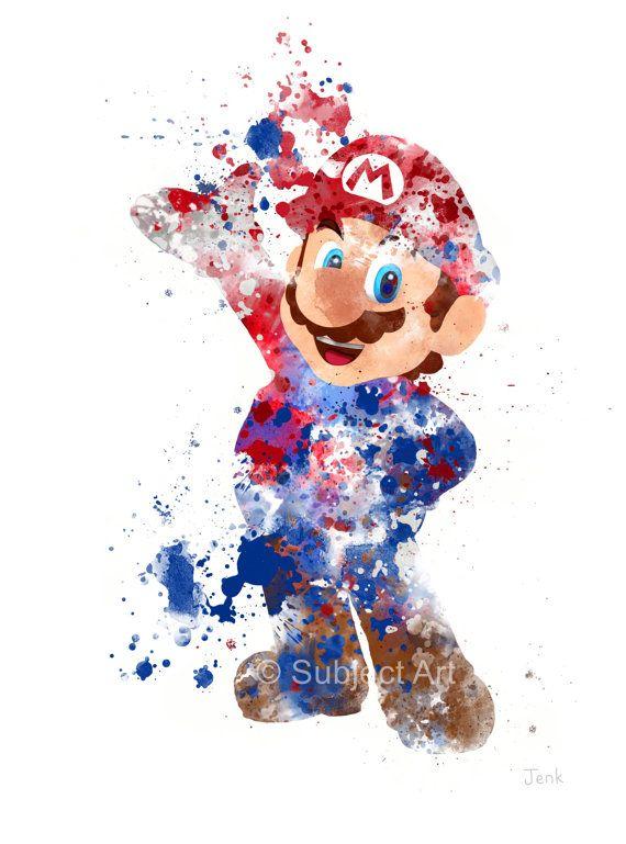Super Mario, Ilustración de arte de Mario PRINT, videojuego, Nintendo, Playstation, Xbox, juegos, Home Decor, arte de la pared, regalo