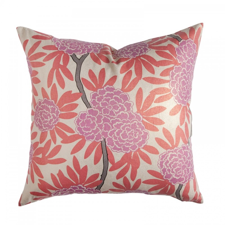BERRY FLEUR CHINOISE PILLOW: Asian Blooms Cascade Through Bold Leaves U0026  Wandering Branches In My · Decor PillowsDecorative ...