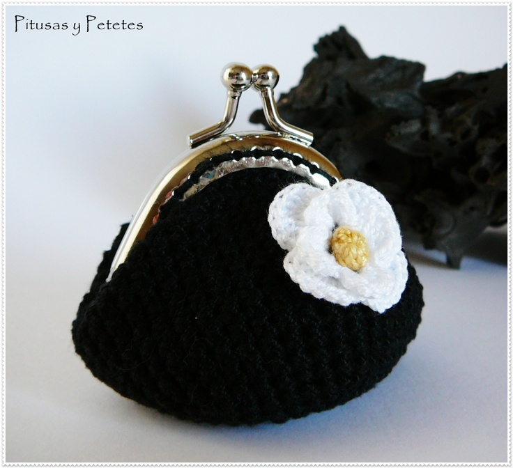 black crochet coin purse