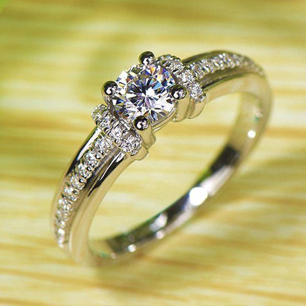 2016 Trendy 0.5ct Lab Created Diamond Sterling Silver Promise Ring for Her [100675] - $121.00 : jewelsin.com