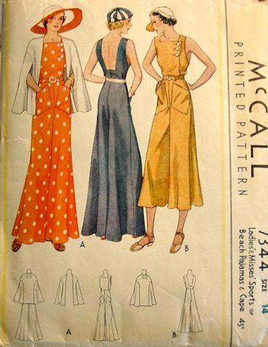 McCall 7344 circa 1933 Sports or Beach Pajamas and Cape