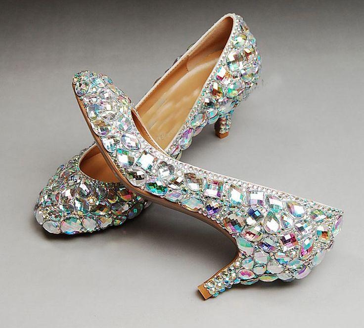 Свадьба блестящие блесточки высокая высокие каблуки для выпускного вечера горный хрусталь свадьба обувь свадебные обувь средний пятки женщина платье обувь