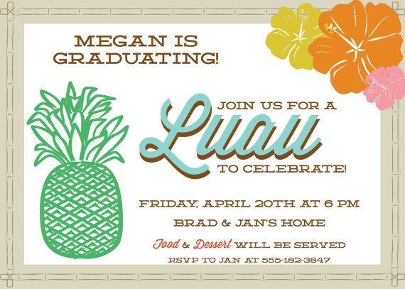 printable graduation party invitation luau by printyourheartout