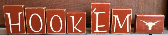 Texas Longhorns Hook 'Em Wooden Decor Blocks by ThreePeasDesigns, $35.00
