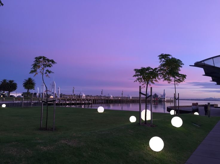 Geelong Waterfront with new lights just before sunset... special