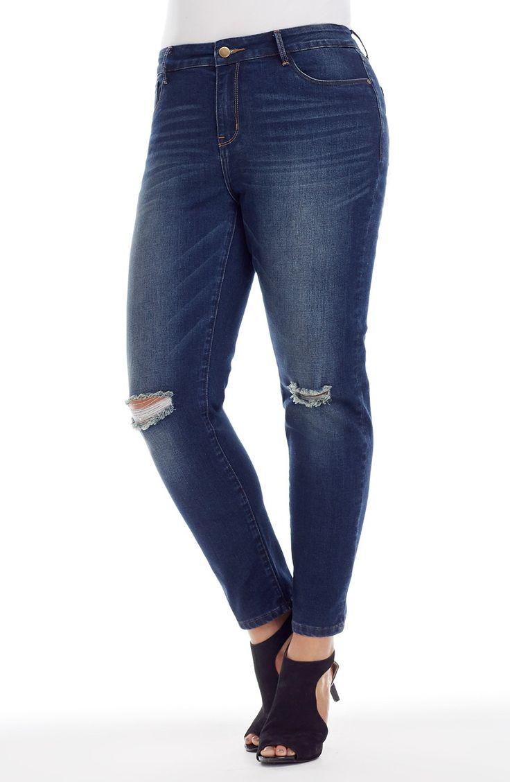 Ankle Length Knee Split Jean - dark indigo -  Style No: J3101 Stretch Dark wash Denim Skinny Leg jean. This Ankle length Jean has 5 pockets and a frayed knee split detail. #dreamdiva #dreamdivafiles #fashion #plussize