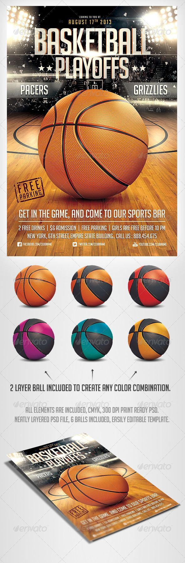 BasketBall Game Flyer PSD Template - Sports Events