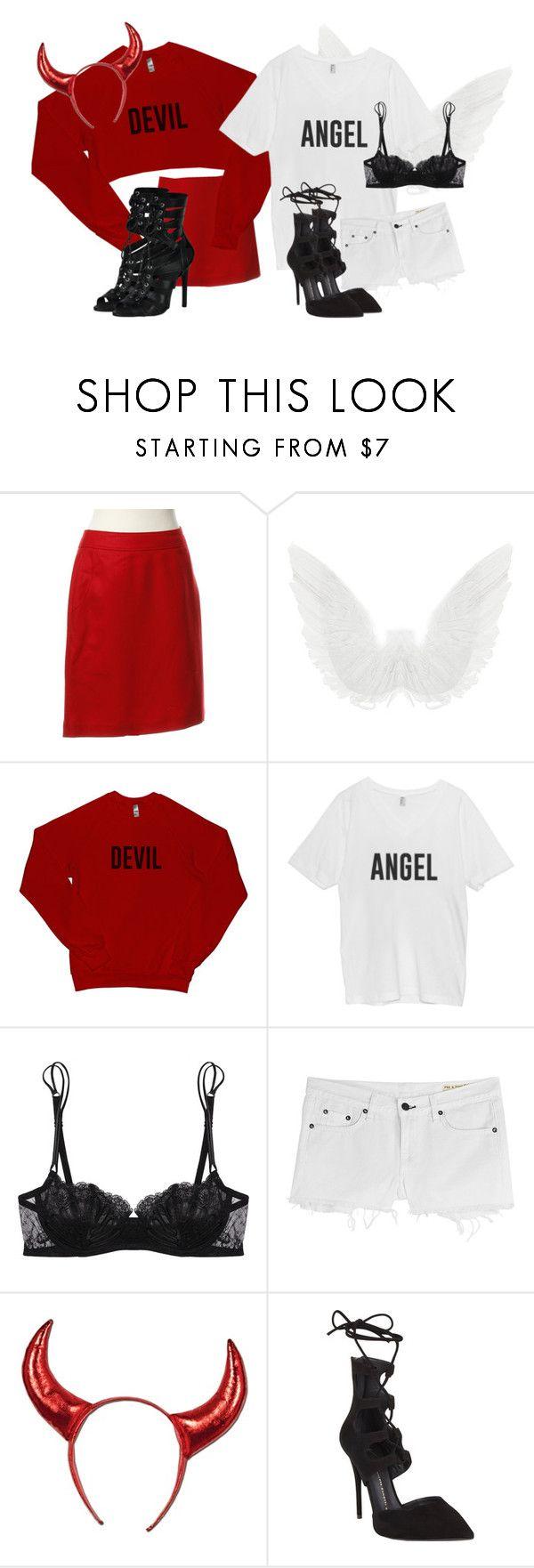 """Halloween: Angel vs. Devil"" by xirix ❤ liked on Polyvore featuring Strenesse, La Perla, rag & bone and Giuseppe Zanotti"