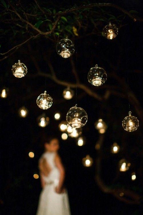 glow: Outdoor Wedding, Hanging Lights, Idea, Hanging Candles, Floating Candles, Trav'Lin Lights, Candles Holders, Teas Lights, Bubbles