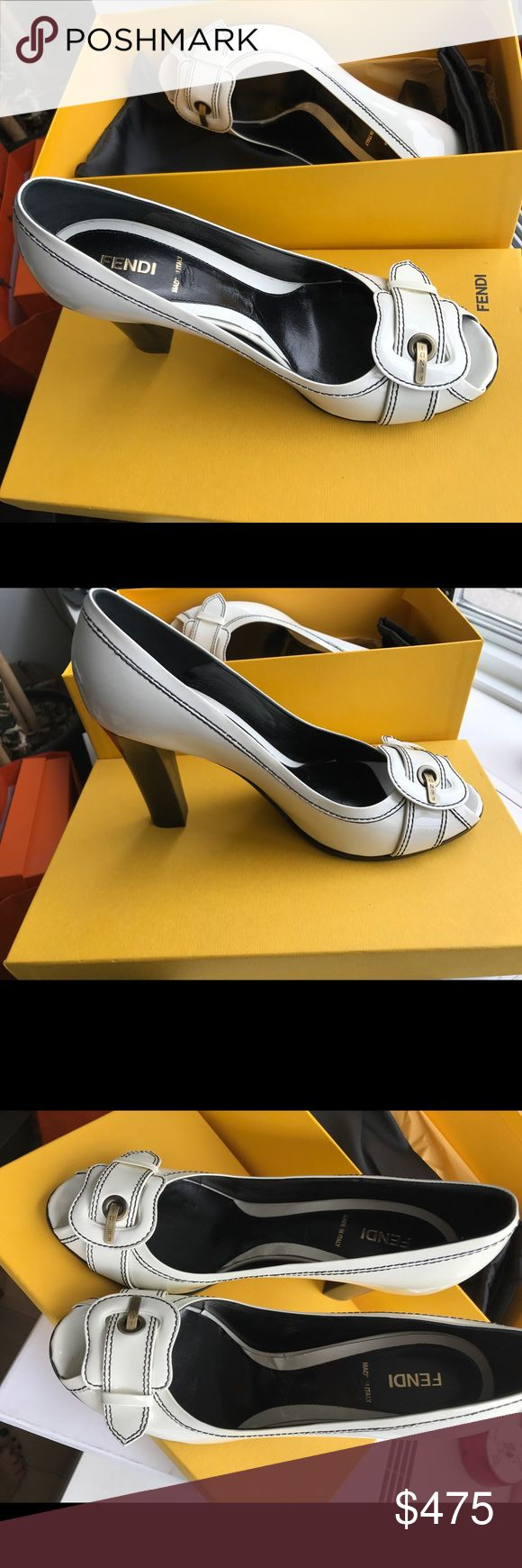 Fendi white patent leather pumps Gorgeous FENDI white patent leather pumps - perfect with your spring outfit. Worn once. Fendi Shoes Heels