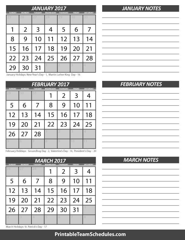 3 month calendar templates