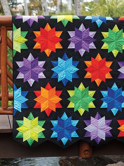 """Stitch a twinkling night sky!   Create beautiful monochromatic stars with depth and detail using 4 shades from the same color family for each block. With no """"Y"""" seams and fat quarter capabilities, this quilt pattern is great for those looking to try their hand at something new. Use a Sidekick ruler to help you measure and cut each star quickly and accurately."""