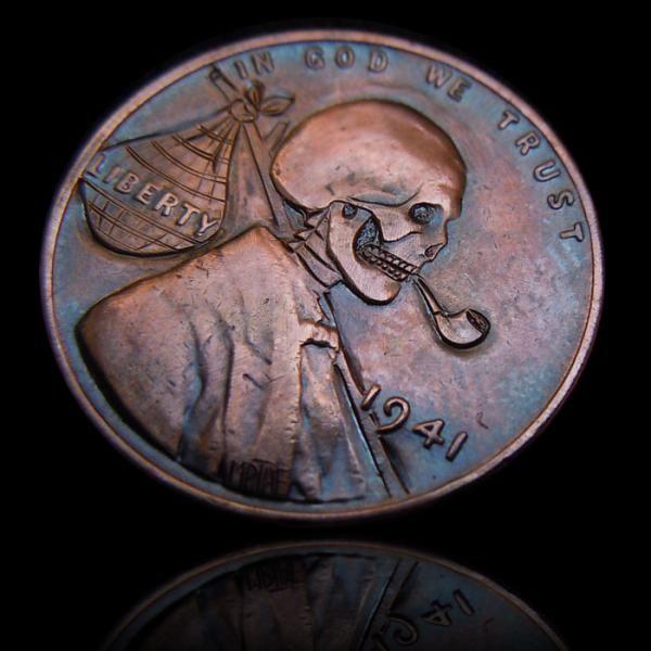 Hobo Skull Cent  Hobo Nickel carved by mrthe