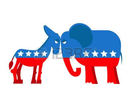 'at' symbol: Donkey and elephant symbols of political parties in America. USA elections. Democrats against Republicans. Opposition to American policy. democratic donkey and republican elephant. USA symbol of political debate