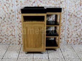 Gezien bij Badkamerexclusief.nl  Badkamermeubel Kerinci Cabinet Teakhout 75 cm, deur links, terrazzo