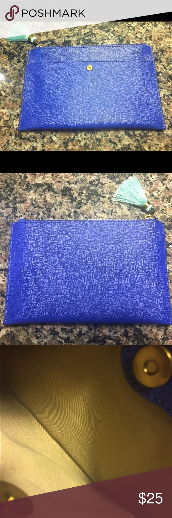 J Crew Medium Pouch Italian Leather in Blue Cute J Crew Pouch for sale in Brilliant Sapphire. Super cute and practical. Goes with any color. Pretty Italian Leather. No tears or wearing off. It's new, just took the tag off! See pics! Original price online $45 asking $25 or open to offers 😊 Thanks for stopping! 💕✌🏻✨😁 J. Crew Bags Clutches & Wristlets