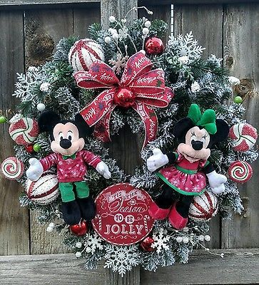 Mickey mouse Minnie mouse Disney Christmas wreath