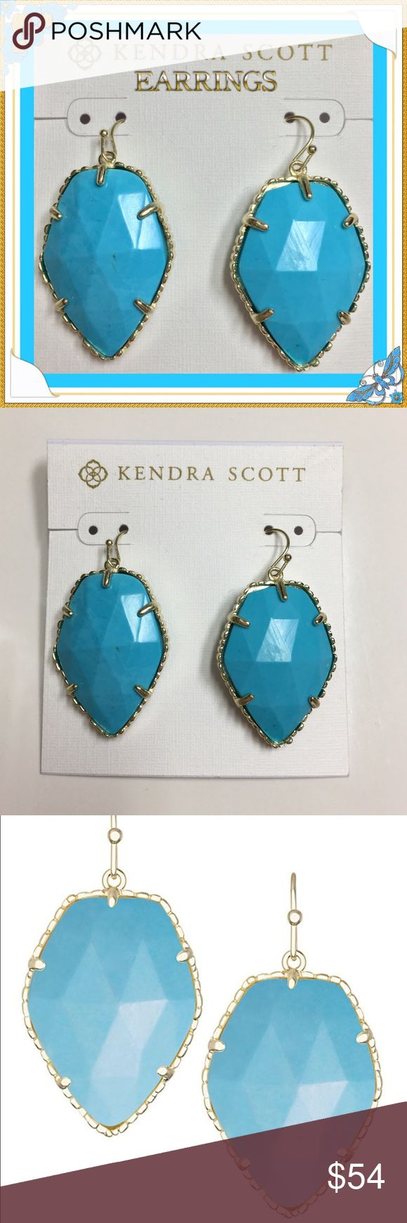 """⚡️Flash Sale!!!⚡️Kendra Scott Earrings Get these beautiful Corley Drop earrings in turquoise from Kendra Scott. Natural turquoise hues give an everyday pop to your style in these effortless drop earrings. •                           14K Gold Plated Over Brass • Size:Â 1.31""""L x 1""""W on earwire • Material: turquoise magnesite No lowballers or trades. Please use the OFFER BUTTON for pricing inquiries. Thanks!!! Kendra Scott Jewelry Earrings"""