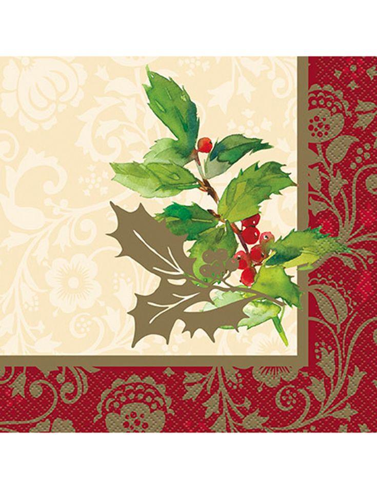 16 Servilletas papel Acebo de Navidad 33x33 cm